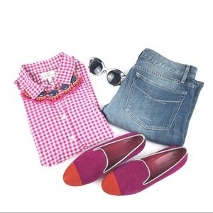 J. Crew Perfect Pink White Gingham Checkered Top